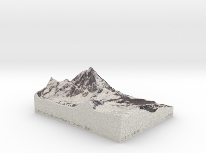 Matterhorn, Switzerland/Italy, 1:50000 3d printed