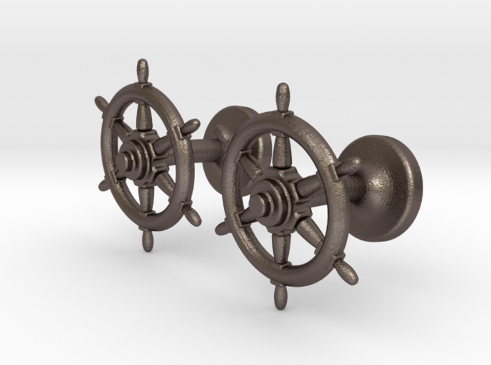 Ships Wheel cufflinks 3d printed