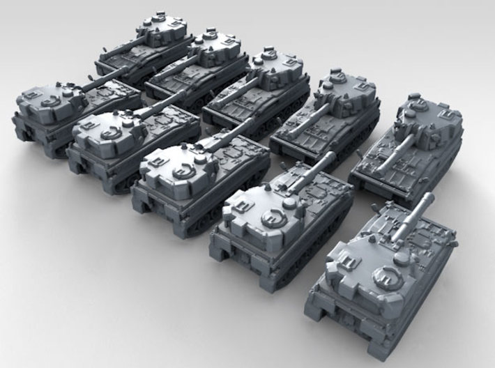 1/600 British FV433 Abbot SPG x10 3d printed 3d render showing product detail