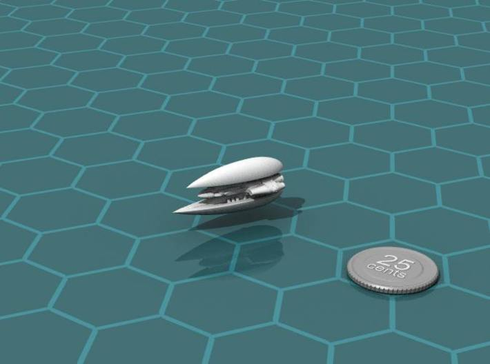 Qri Falcon class Patrol Ship 3d printed Render of the model, with a virtual quarter for scale.