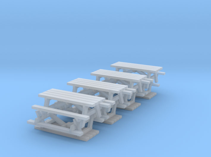 N Scale Picnic Tables x8 3d printed