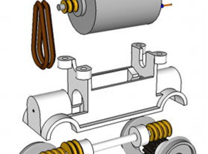 TT Truck 9' wheelbase 10mm Motor 3d printed Exploded diagram, showing how the parts go together