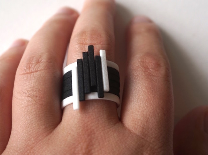 Bar Ring - Size 6 3d printed Black and White Stack