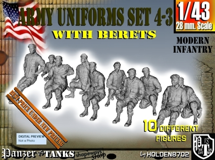 1-43 Army Modern Uniforms BERETS Set 4-3 3d printed