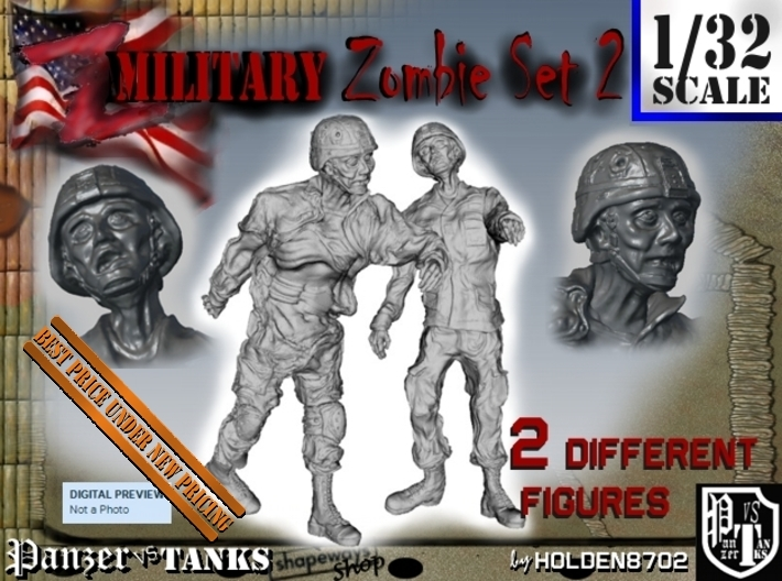 1-32 Military Zombie Set 2 3d printed