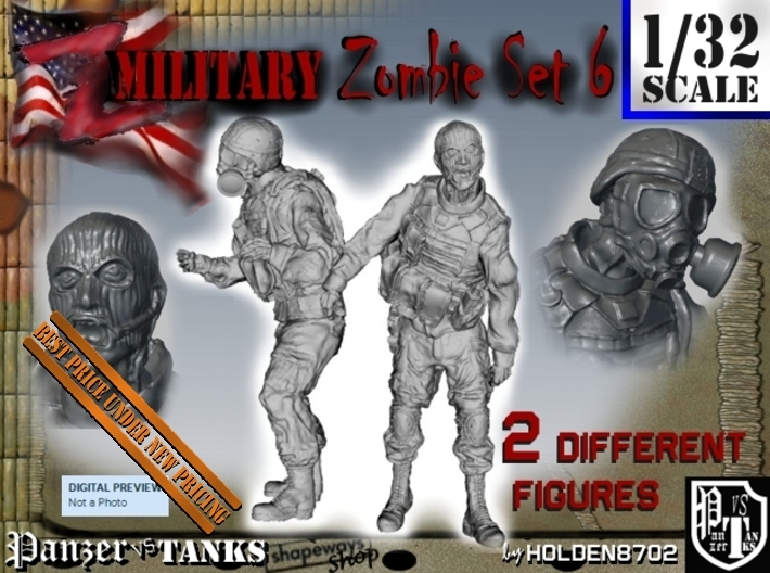 1-32 Military Zombie Set 6 3d printed