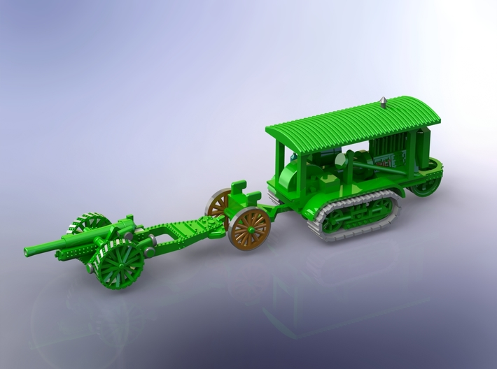 WW I Holt Tractor w. 8in Howitzer 1/144 3d printed