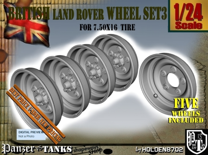1-24 Land Rover 750x16 Wheels Set3 3d printed