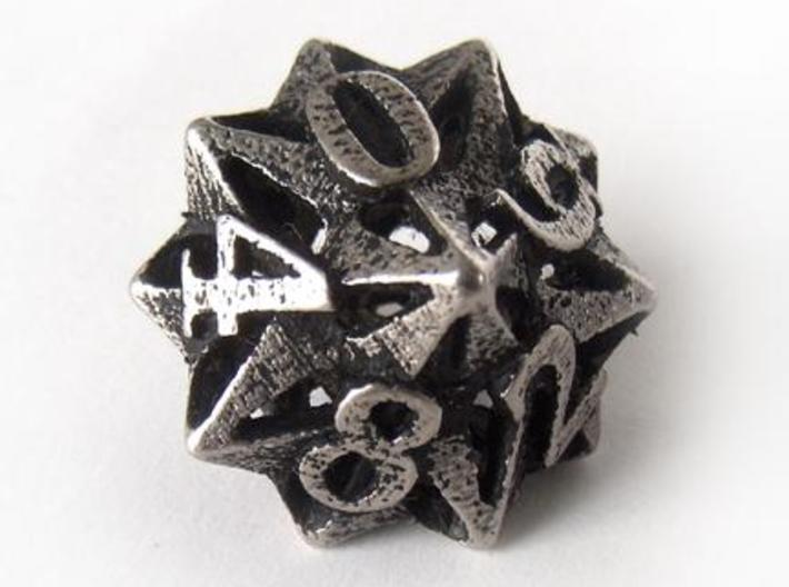 Pinwheel d10 3d printed In stainless steel and inked