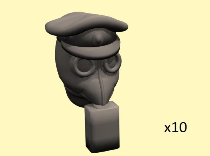 28mm WW1 rus gasmask+caps heads (10) 3d printed