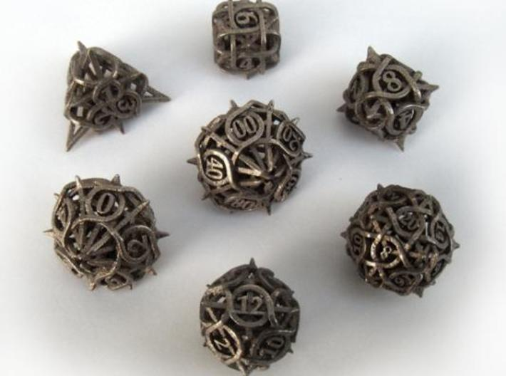 Thorn Dice Set with Decader 3d printed In stainless steel