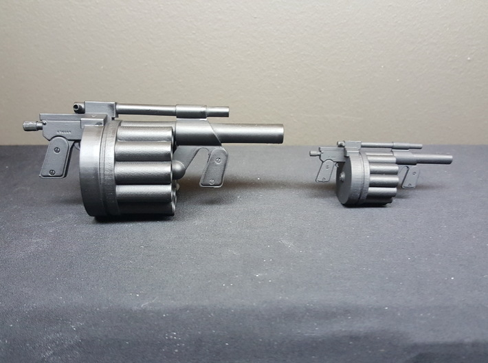 Hawk MM1 Grenade Launcher 1:6 scale 3d printed 1:6 scale (left) and 1:10 scale (right)