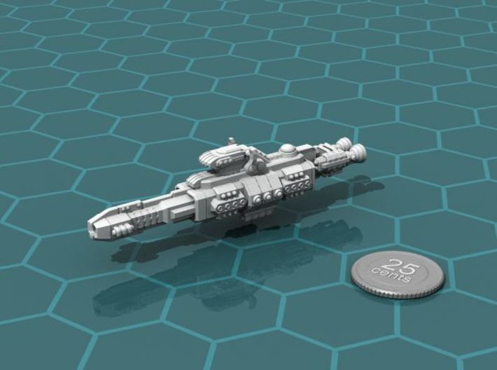Chukulak Heavy Cruiser 3d printed Render of the model, with a virtual quarter for scale.