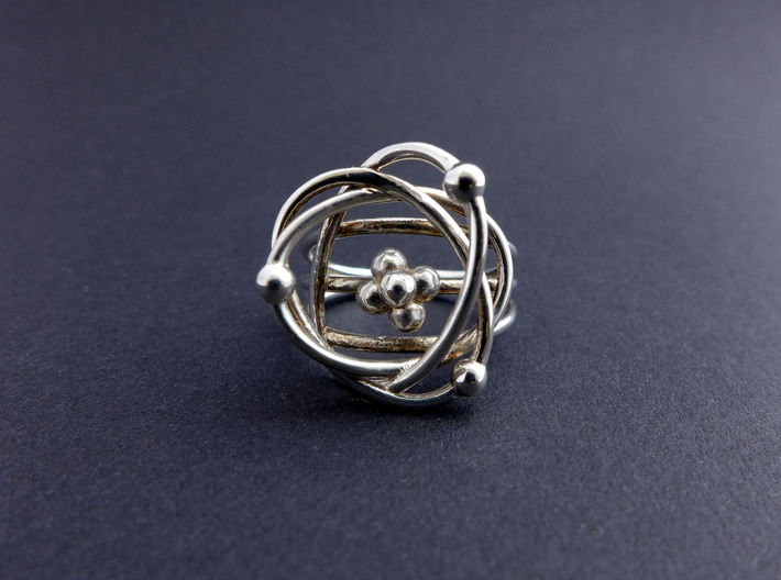 Protons, Neutrons, Electrons Ring 3d printed Protons, Neutrons, Electrons ring in polished silver