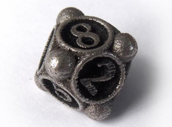 Spore d8 3d printed In stainless steel and inked