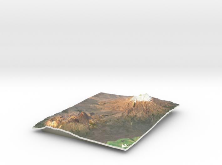 """Mt Ngauruhoe & Mt Ruapehu Map - 8""""x10"""" 3d printed"""