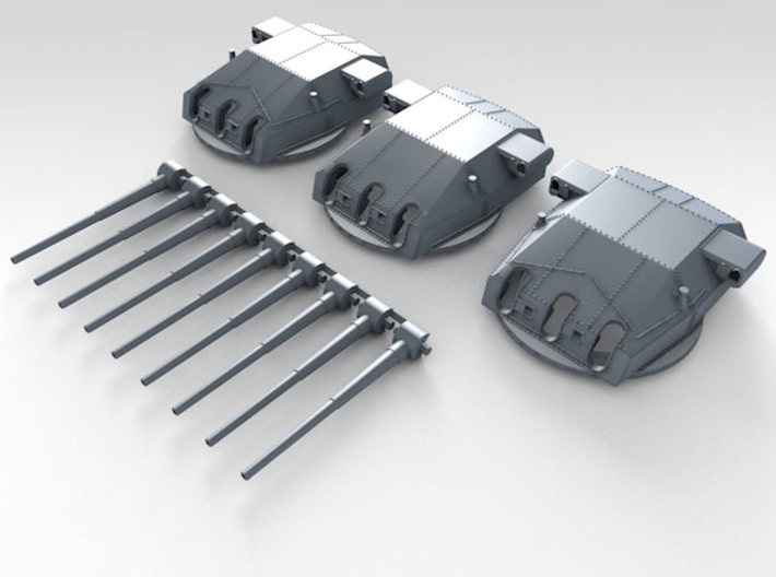 "1/570 DKM Gneisenau Turrets 28cm (11"") 1936 3d printed Render showing set"