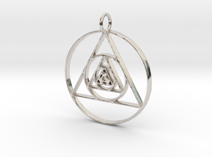 Modern Abstract Circles And Triangles Pendant 3d printed