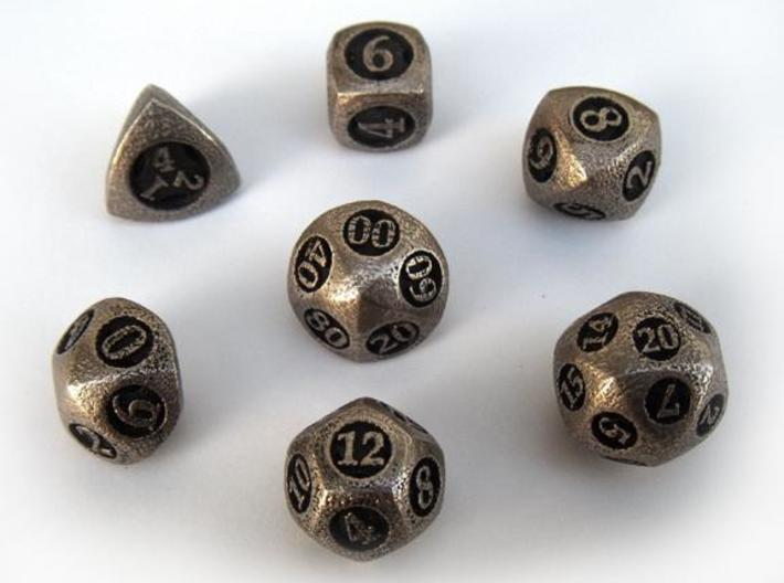 Overstuffed Dice Set with Decader 3d printed In stainless steel and inked