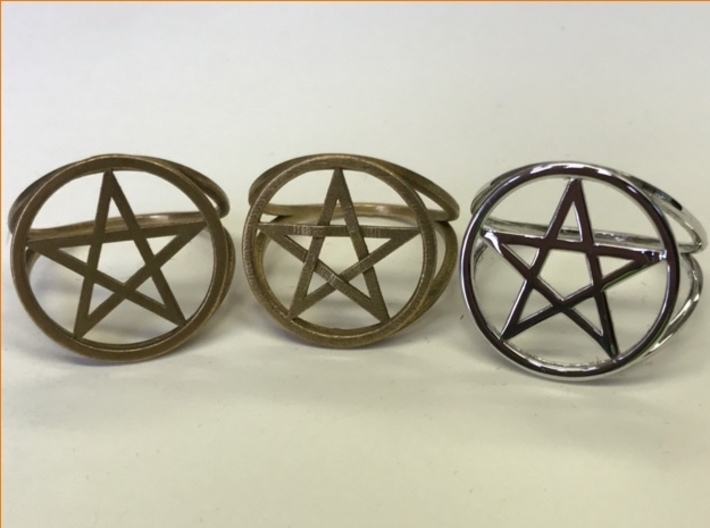 Pentacle ring (customize) 3d printed A choice of metals: raw brass, raw bronze, polished rhodium over brass.