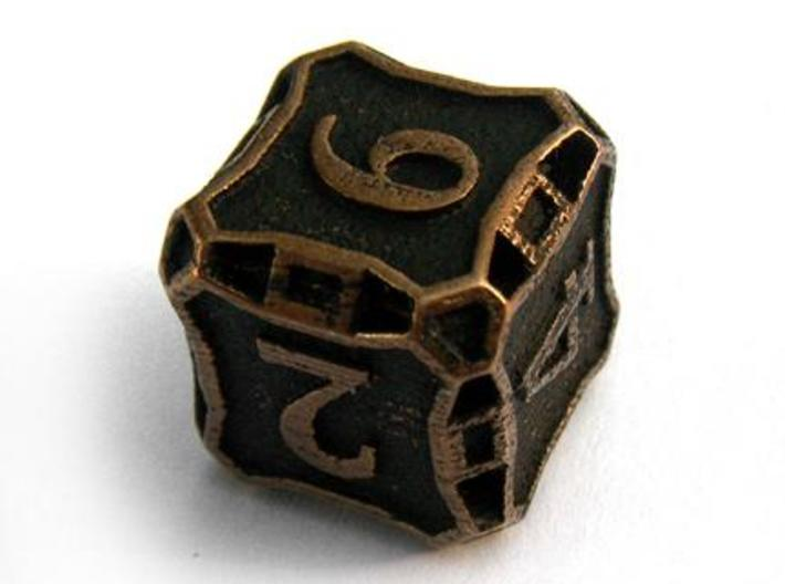 Large Premier Die6 3d printed In antique bronze glossy and inked