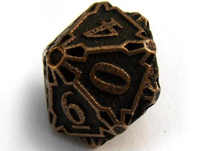 Large Premier Die10 3d printed In antique bronze glossy and inked
