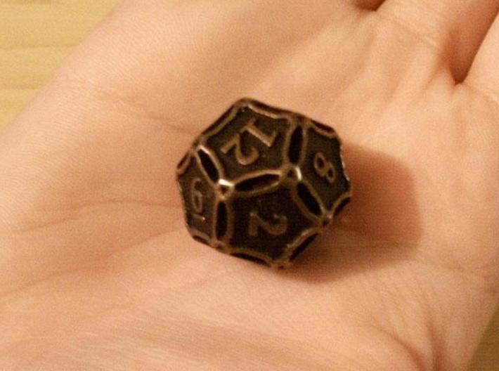 Large Premier Die12 3d printed In antique bronze glossy and inked.