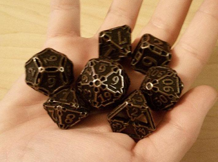 Large Premier Dice Set with Decader 3d printed In antique bronze glossy and inked.