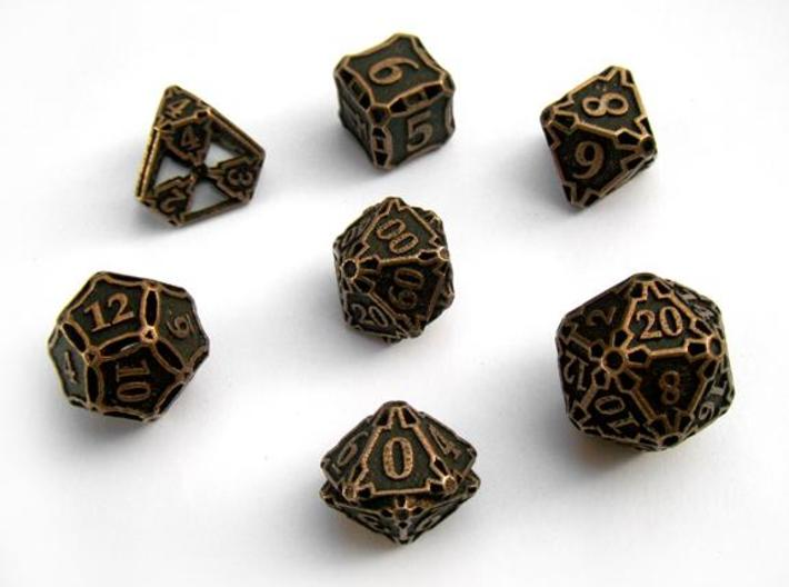 Large Dice Set with Decader 3d printed In antique bronze glossy and inked