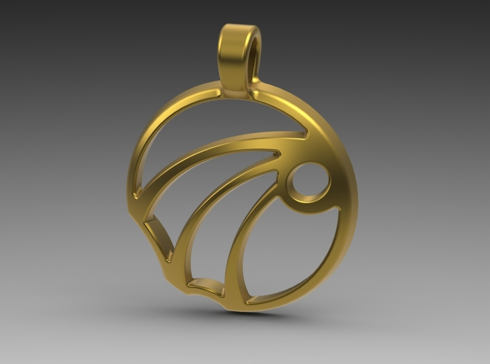 Sun Ray Pendant 3d printed Gold