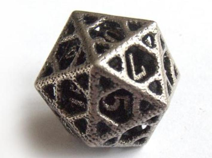 Cage Die20 3d printed In stainless steel and inked