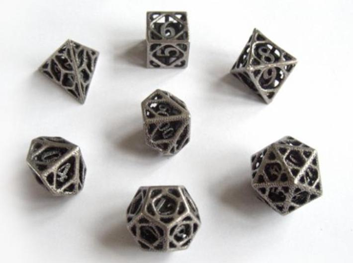Cage Dice Set with Decader 3d printed In stainless steel and inked