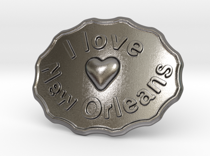 I Love New Orleans Belt Buckle 3d printed