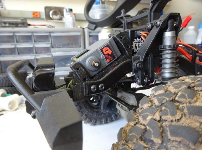 Servo Winch and Bumper Mount for Traxxas TRX-4 3d printed Pre-production prototype shown with internal spool winch installed