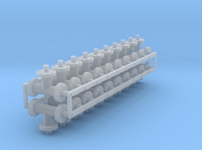 1:48 scale - 6in pipe tees - Ver3 - 20ea 3d printed