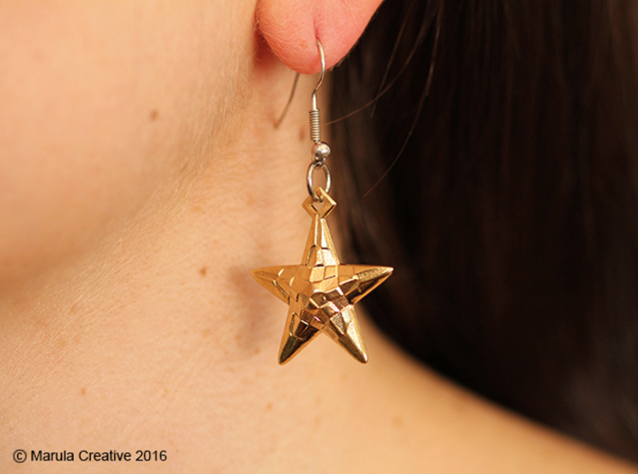 Stylised Sea Star Earring 3d printed Raw Brass earring - showing hook with ring (not sold with product)