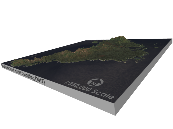 Stewart Island Map, New Zealand 3d printed