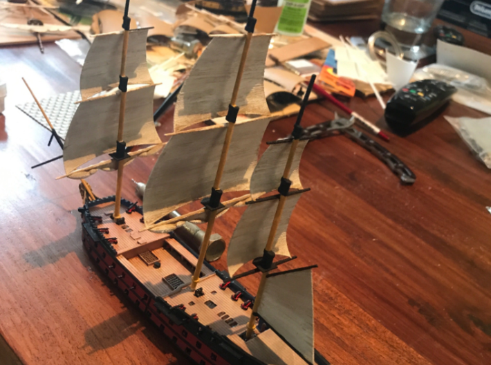 1/300 Frigate Mast Set V1 3d printed The painted masts on a finished hull.  Photo provided by Adam Clark.
