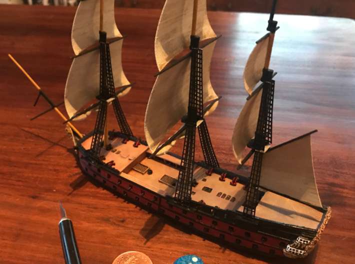 1/300 Frigate Mast Set V1 3d printed A finished ship, ready for action.  Photo provided by Adam Clark.