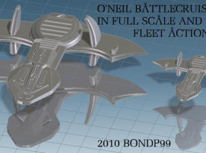 O'Neil Fleet Action 3d printed Full scale and Fleet Action scale comparison of the O'Neil battleship