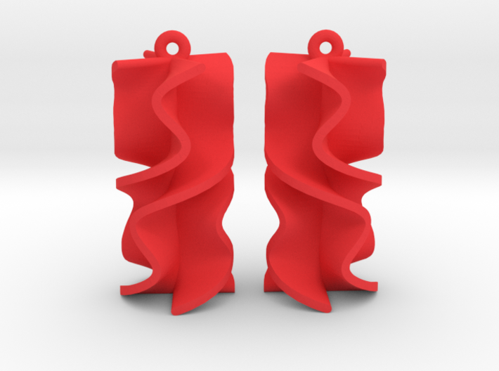 Sinusoidal Rotini Earrings 3d printed