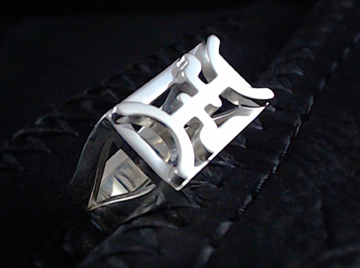 Cattle Brand Ring 1- Size 9 1/2 (19.35 mm) 3d printed Shown in polished silver.