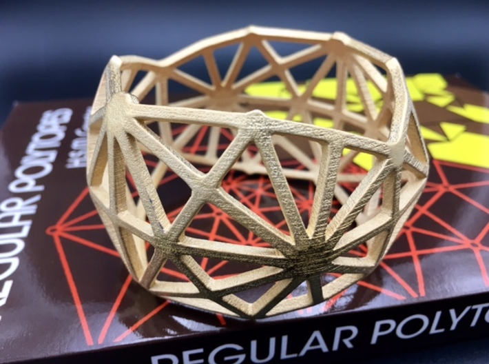 Catalan Bracelet - Disdyakis Triacontahedron 3d printed Photo of finished product in  Polished Gold Steel
