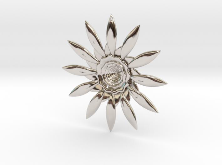 Fractal Flower Pendant VI 3d printed