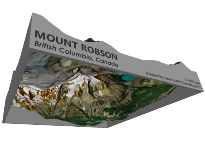 "Mount Robson Map: 8"" 3d printed"