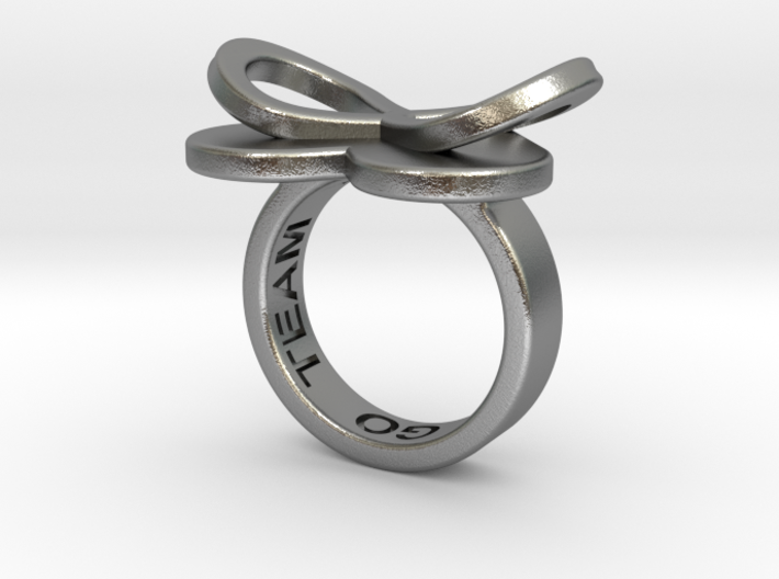 AMOUR in raw silver 3d printed