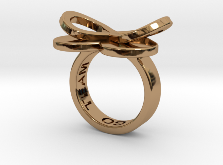 AMOUR in polished brass 3d printed