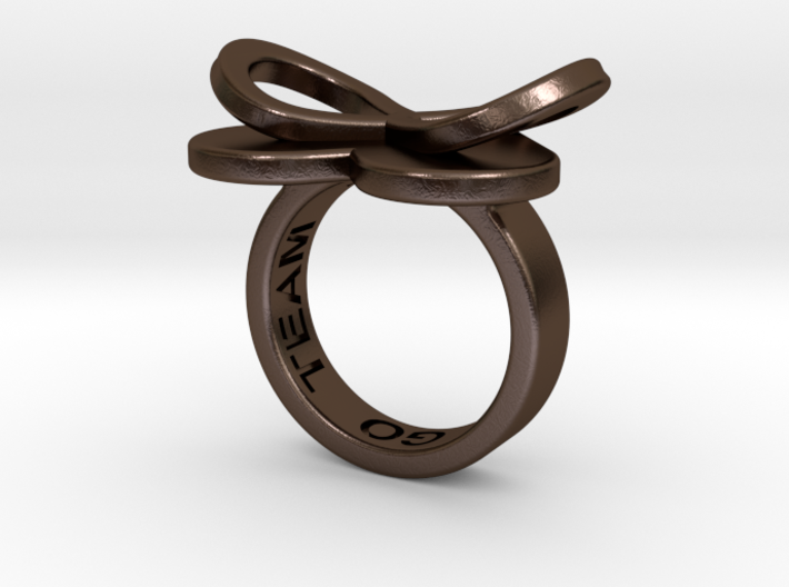 AMOUR in polished bronze steel 3d printed