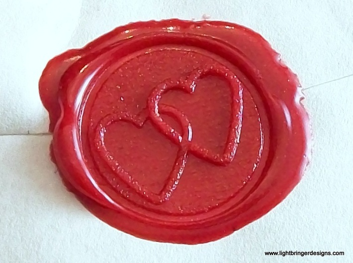 Linked Hearts Wax Seal 3d printed The impression, up close.