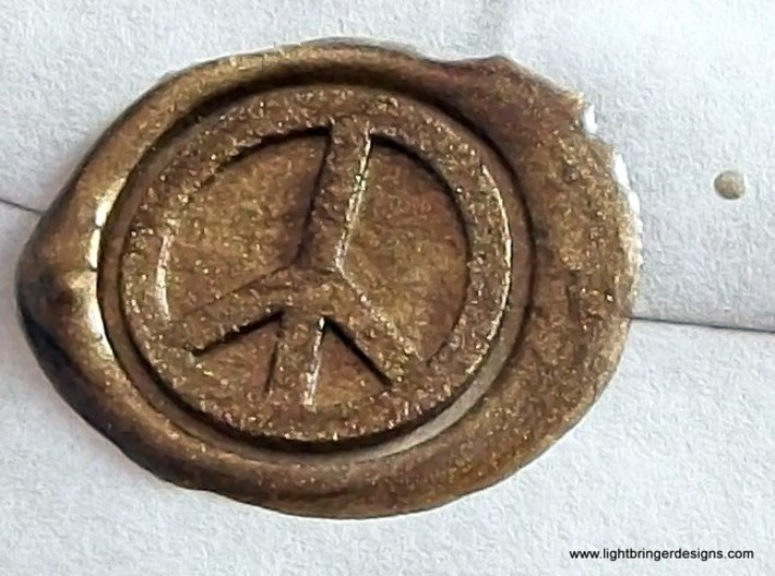 Peace Sign Wax Seal 3d printed Close up of just the impression.